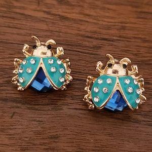 Jewelry - 🐞 Blue Enamel & Rhinestone Ladybug Earrings